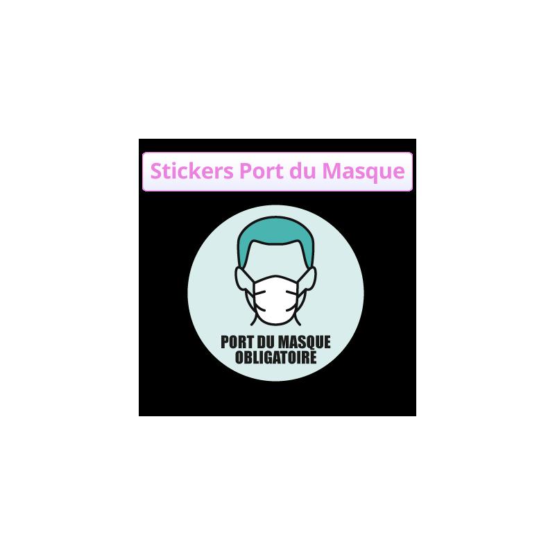 Autocollant port du masque obligatoire - stickers pas cher