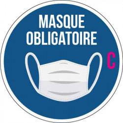 """Adhésif  circulaire pour vitrine """" Port du masque obligatoire """" C"""