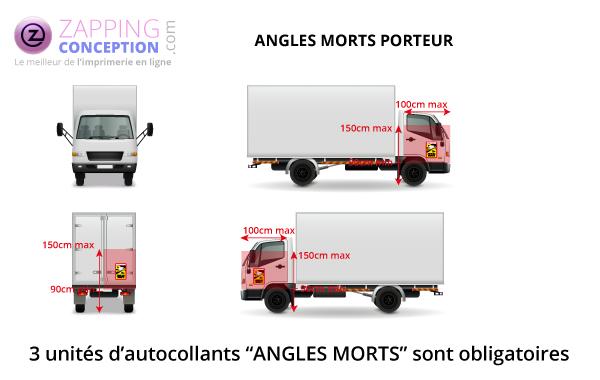 emplacements des autocollant sur camion porteur